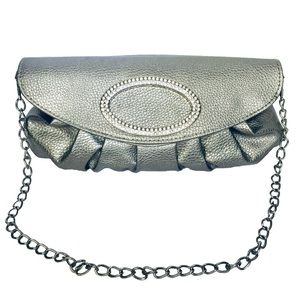 Handbags - Women's Silver Clutch with Crystal Adorned Flap